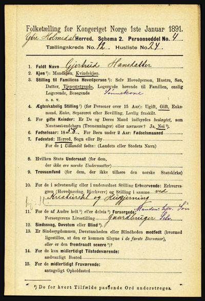 Image from object titled Folketelling 1891 - Ytre Holmedal - personsedler - side 3338