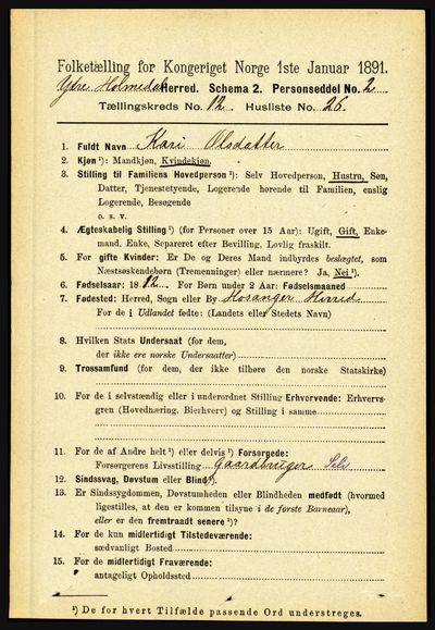 Image from object titled Folketelling 1891 - Ytre Holmedal - personsedler - side 3349