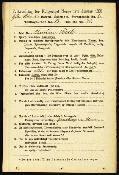 Image from object titled Folketelling 1891 - Ytre Holmedal - personsedler - side 3663