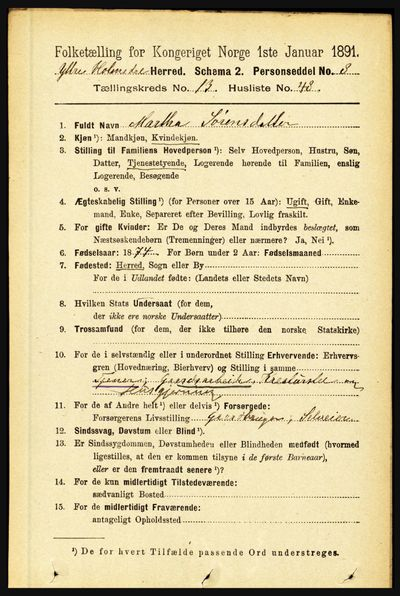 Image from object titled Folketelling 1891 - Ytre Holmedal - personsedler - side 3721