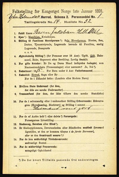 Image from object titled Folketelling 1891 - Ytre Holmedal - personsedler - side 3951