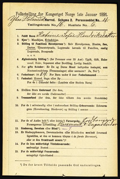 Image from object titled Folketelling 1891 - Ytre Holmedal - personsedler - side 4265