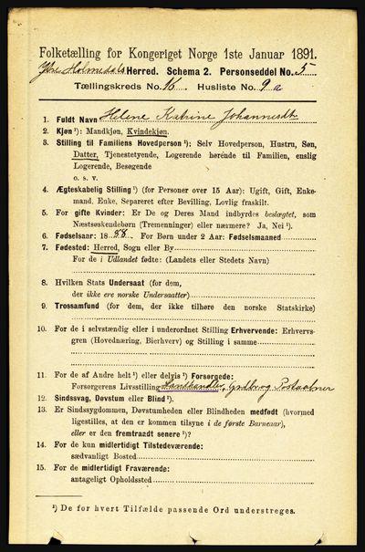 Image from object titled Folketelling 1891 - Ytre Holmedal - personsedler - side 4284