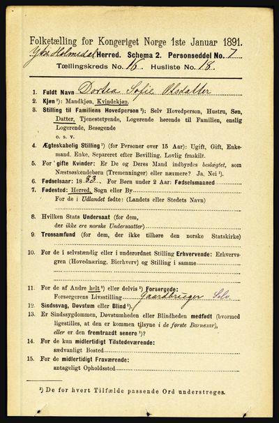 Image from object titled Folketelling 1891 - Ytre Holmedal - personsedler - side 4344