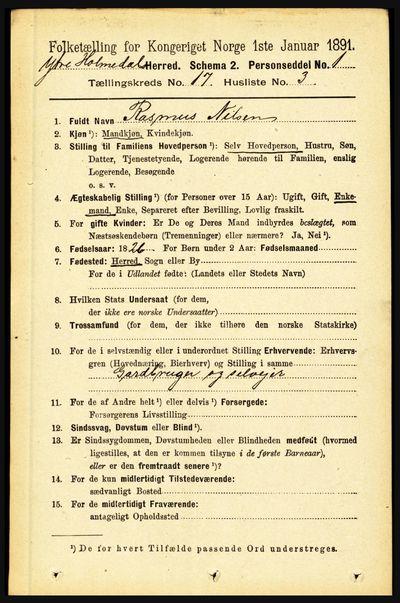 Image from object titled Folketelling 1891 - Ytre Holmedal - personsedler - side 4445