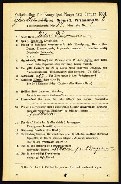 Image from object titled Folketelling 1891 - Ytre Holmedal - personsedler - side 4446