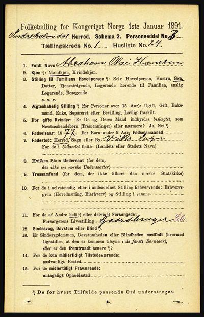 Image from object titled Folketelling 1891 - Indre Holmedal - personsedler - side 248