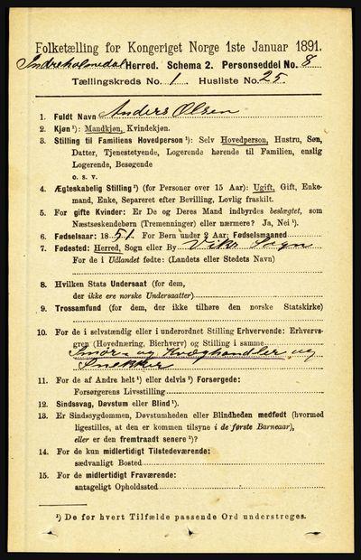 Image from object titled Folketelling 1891 - Indre Holmedal - personsedler - side 257