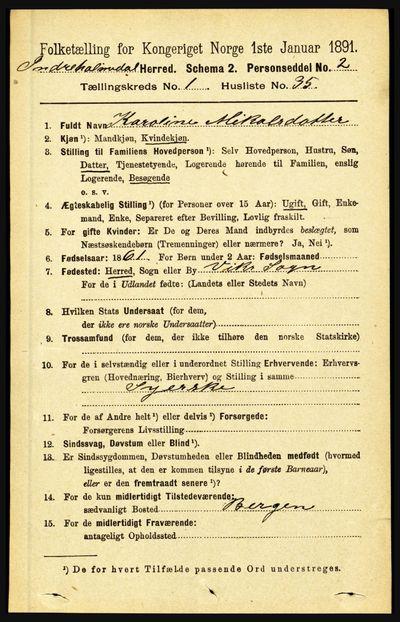 Image from object titled Folketelling 1891 - Indre Holmedal - personsedler - side 319