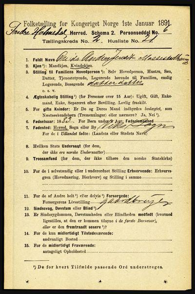 Image from object titled Folketelling 1891 - Indre Holmedal - personsedler - side 618