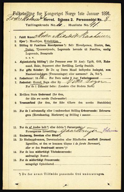 Image from object titled Folketelling 1891 - Indre Holmedal - personsedler - side 742