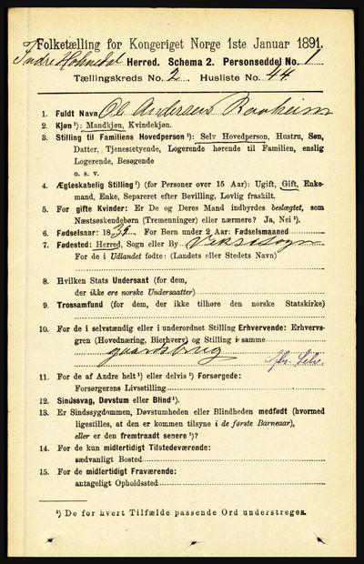 Image from object titled Folketelling 1891 - Indre Holmedal - personsedler - side 756