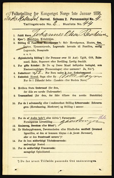 Image from object titled Folketelling 1891 - Indre Holmedal - personsedler - side 759