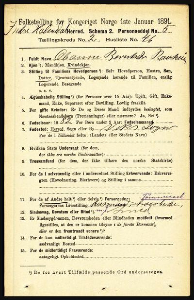 Image from object titled Folketelling 1891 - Indre Holmedal - personsedler - side 779