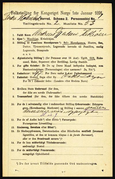 Image from object titled Folketelling 1891 - Indre Holmedal - personsedler - side 830