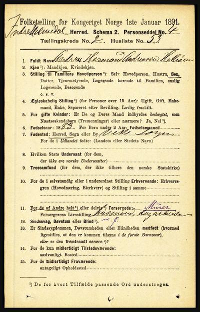 Image from object titled Folketelling 1891 - Indre Holmedal - personsedler - side 833