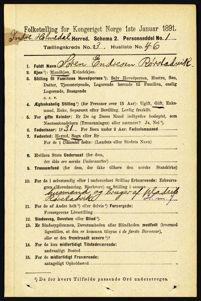Image from object titled Folketelling 1891 - Indre Holmedal - personsedler - side 1231
