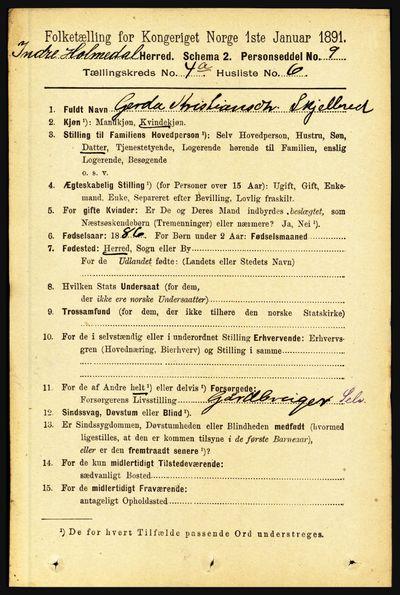 Image from object titled Folketelling 1891 - Indre Holmedal - personsedler - side 1367