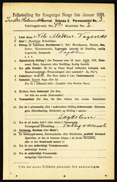 Image from object titled Folketelling 1891 - Indre Holmedal - personsedler - side 1649