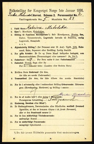Image from object titled Folketelling 1891 - Indre Holmedal - personsedler - side 2077