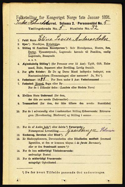 Image from object titled Folketelling 1891 - Indre Holmedal - personsedler - side 2103