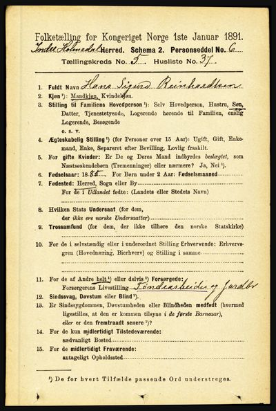 Image from object titled Folketelling 1891 - Indre Holmedal - personsedler - side 2128