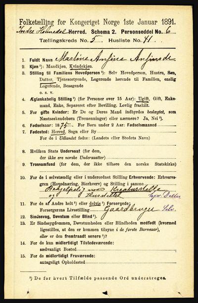 Image from object titled Folketelling 1891 - Indre Holmedal - personsedler - side 2151