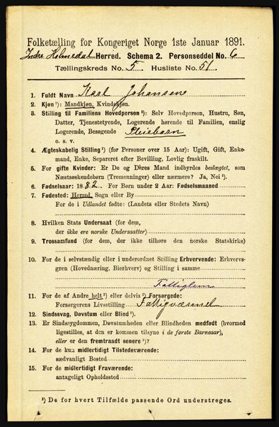 Image from object titled Folketelling 1891 - Indre Holmedal - personsedler - side 2218
