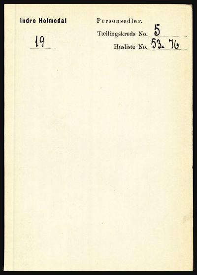 Image from object titled Folketelling 1891 - Indre Holmedal - personsedler - side 2225