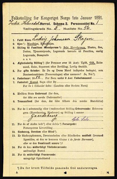 Image from object titled Folketelling 1891 - Indre Holmedal - personsedler - side 2235