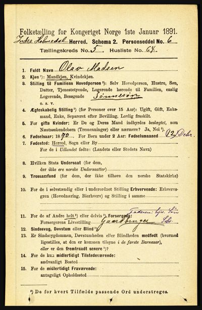 Image from object titled Folketelling 1891 - Indre Holmedal - personsedler - side 2306