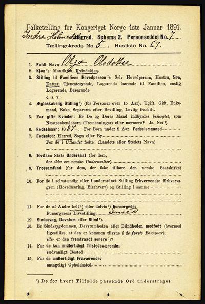 Image from object titled Folketelling 1891 - Indre Holmedal - personsedler - side 2327