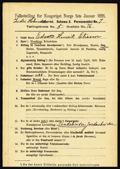 Image from object titled Folketelling 1891 - Indre Holmedal - personsedler - side 2391