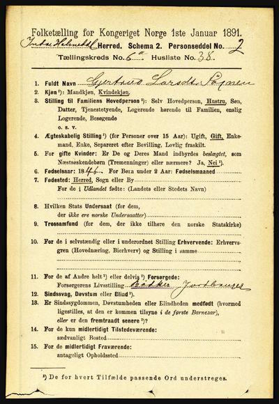 Image from object titled Folketelling 1891 - Indre Holmedal - personsedler - side 2679