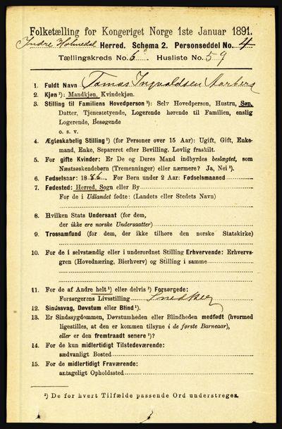 Image from object titled Folketelling 1891 - Indre Holmedal - personsedler - side 2836