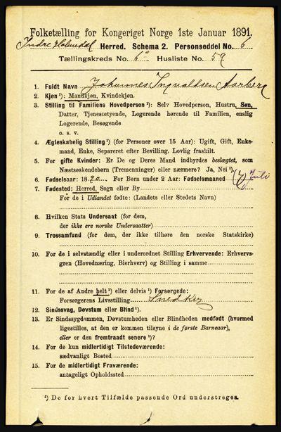 Image from object titled Folketelling 1891 - Indre Holmedal - personsedler - side 2838