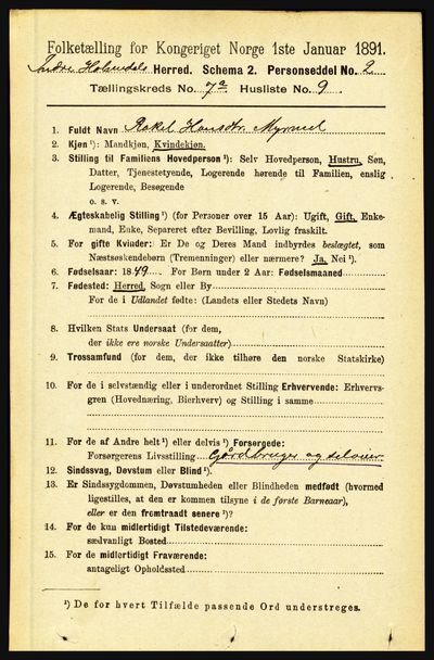 Image from object titled Folketelling 1891 - Indre Holmedal - personsedler - side 2966