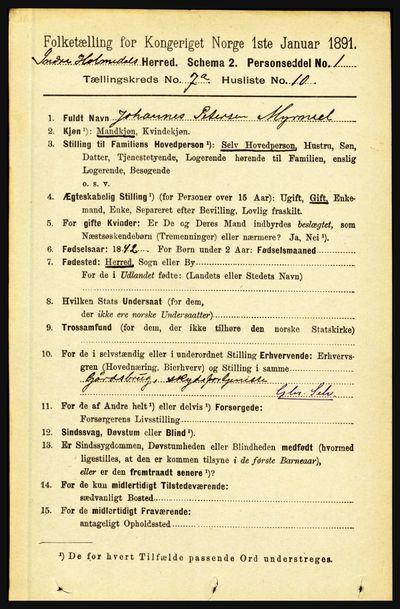 Image from object titled Folketelling 1891 - Indre Holmedal - personsedler - side 2973
