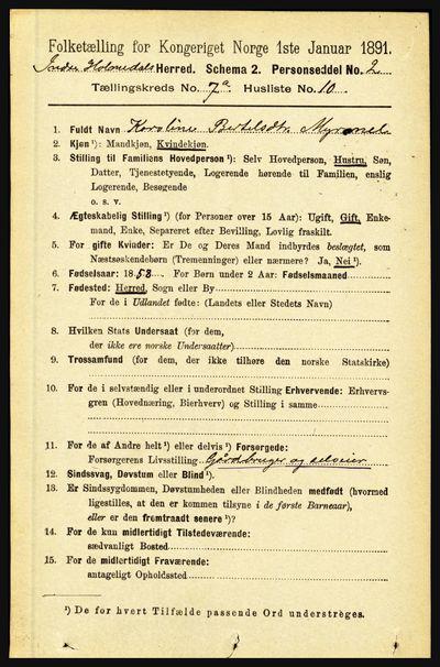 Image from object titled Folketelling 1891 - Indre Holmedal - personsedler - side 2974