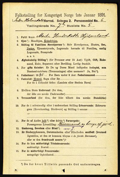 Image from object titled Folketelling 1891 - Indre Holmedal - personsedler - side 3062
