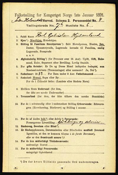 Image from object titled Folketelling 1891 - Indre Holmedal - personsedler - side 3066
