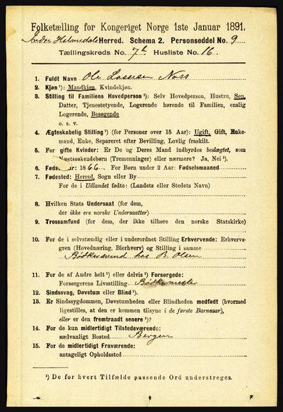 Image from object titled Folketelling 1891 - Indre Holmedal - personsedler - side 3127