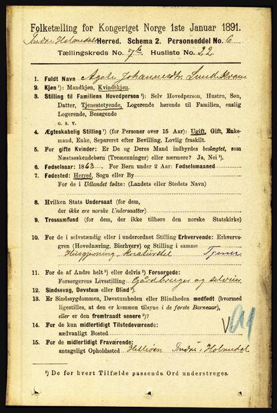 Image from object titled Folketelling 1891 - Indre Holmedal - personsedler - side 3179