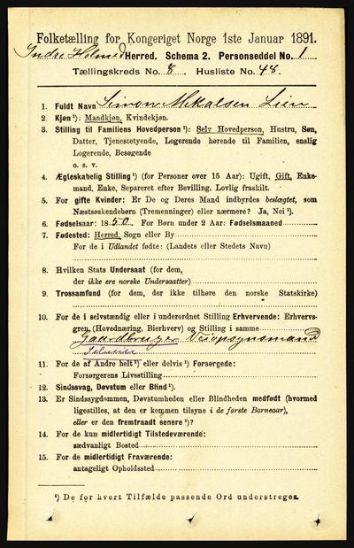 Image from object titled Folketelling 1891 - Indre Holmedal - personsedler - side 3694