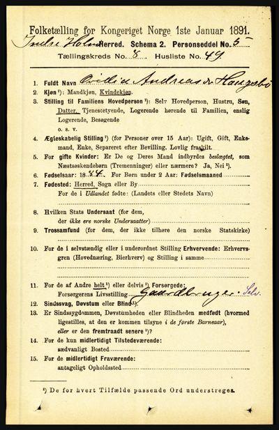 Image from object titled Folketelling 1891 - Indre Holmedal - personsedler - side 3706