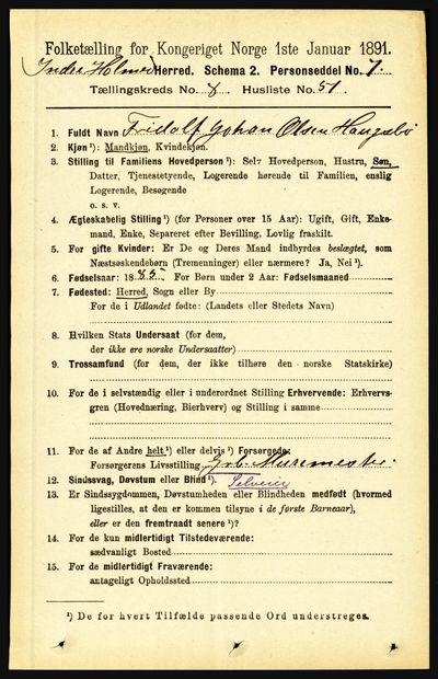 Image from object titled Folketelling 1891 - Indre Holmedal - personsedler - side 3722