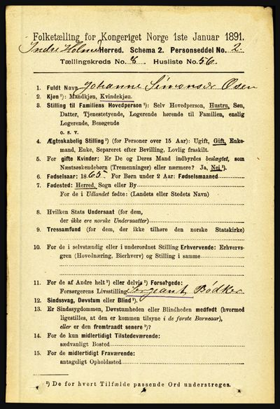 Image from object titled Folketelling 1891 - Indre Holmedal - personsedler - side 3747
