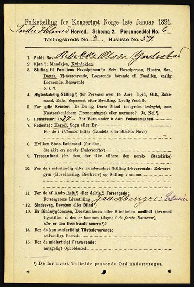 Image from object titled Folketelling 1891 - Indre Holmedal - personsedler - side 3780