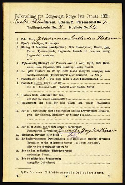 Image from object titled Folketelling 1891 - Indre Holmedal - personsedler - side 3828