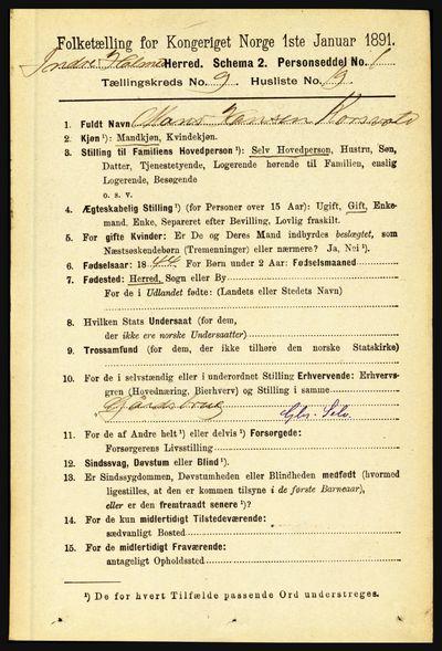 Image from object titled Folketelling 1891 - Indre Holmedal - personsedler - side 4170
